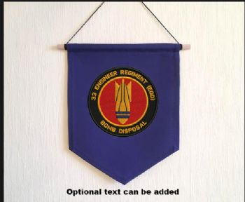 Embroidered Pennant with 33 Engr Regt EOD